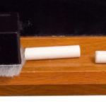 chalkboard bottom half with eraser and chalk